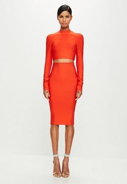 Peace + Love Orange Bandage Mini Skirt