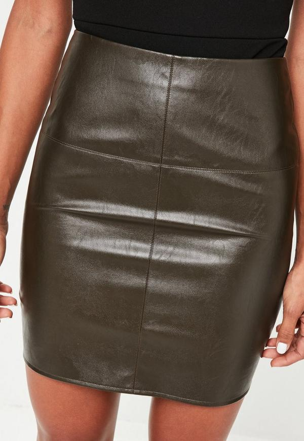 khaki faux leather mini skirt missguided