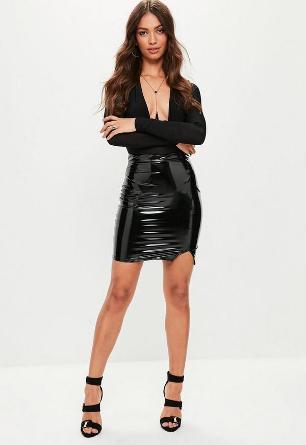 black high waisted split front vinyl mini skirt