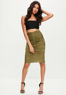 Khaki Slinky Ruched Midi Skirt