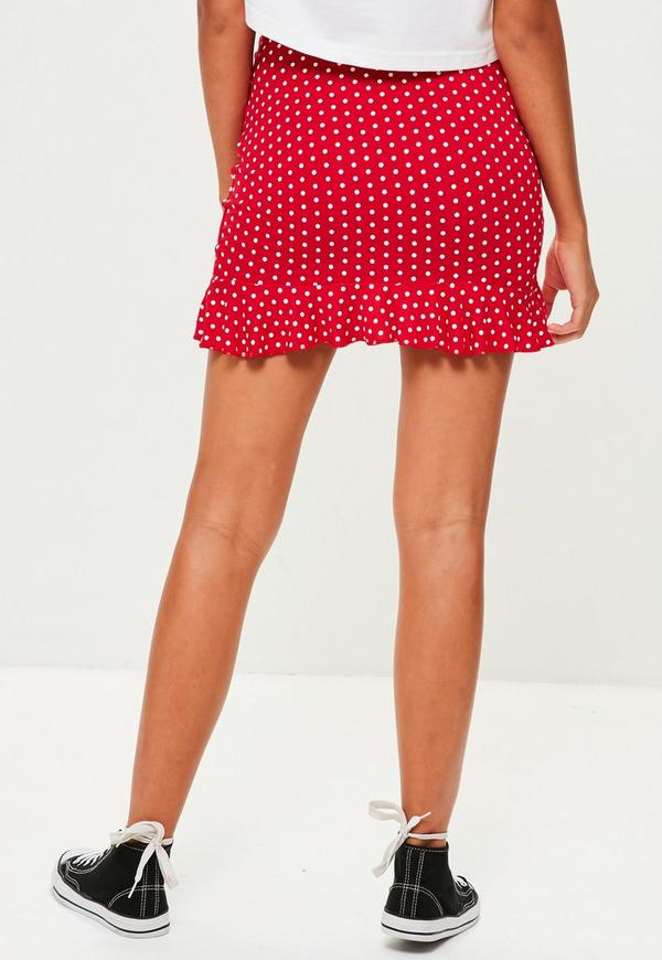 Red Polka Dot Wrap Mini Skirt Missguided