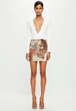 Peace + Love Gold Sequin Mini Skirt