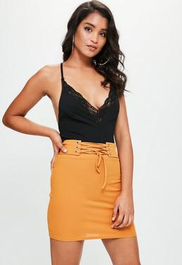 Yellow Ribbed Lace Up Waist Mini Skirt