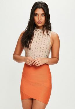 Orange Bandage Asymmetric Mini Skirt