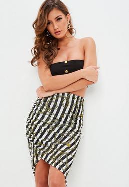 Black Striped Slinky Ruched Midi Skirt
