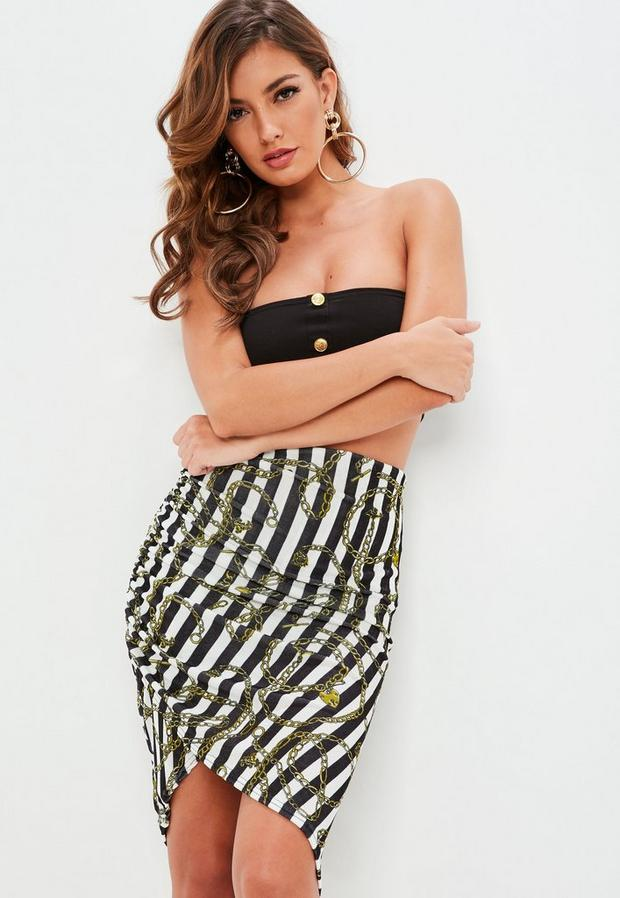 Product photo of Black striped slinky ruched midi skirt black