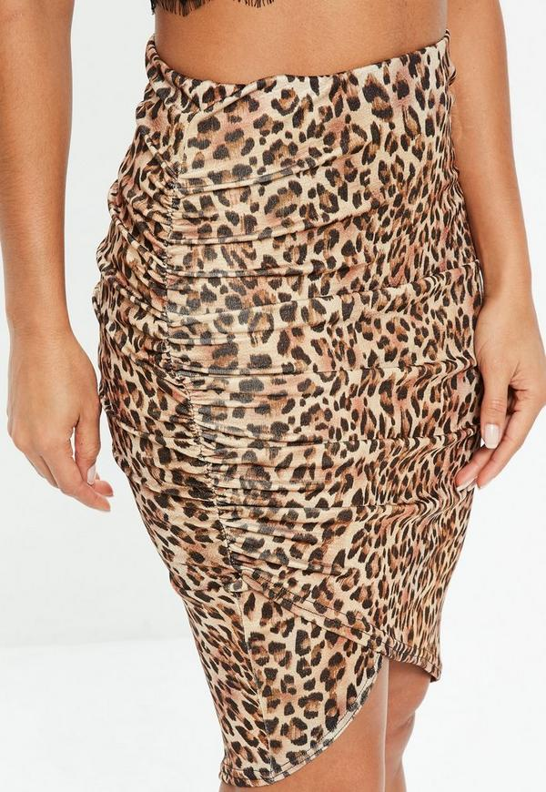 Brown Leopard Print Ruched Midi Skirt Missguided