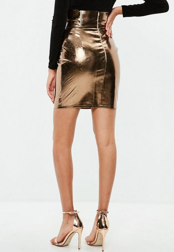 goldener high waist metallic rock missguided. Black Bedroom Furniture Sets. Home Design Ideas