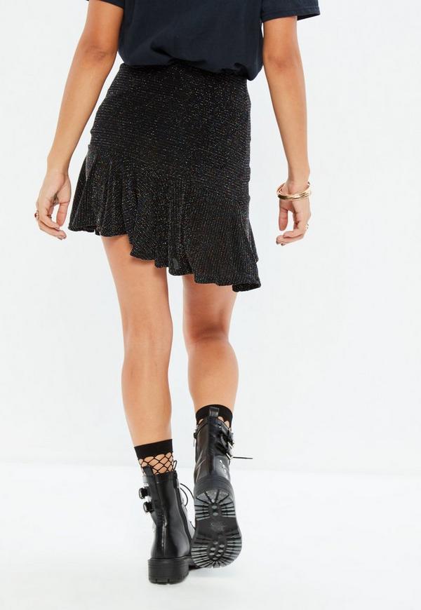 Black Metallic Frill Hem Mini Skirt | Missguided
