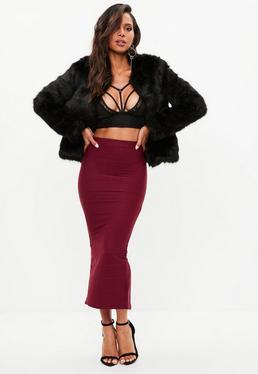 Burgundy Bandage Midaxi Skirt