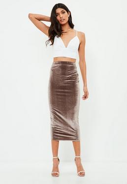 Brown Velvet Midaxi Skirt