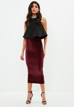 Burgundy Velvet Midaxi Skirt