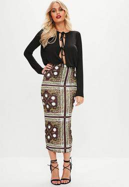 Burgundy Midaxi Baroque Print Skirt