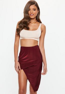 Burgundy Asymmetric Slinky Midi Skirt