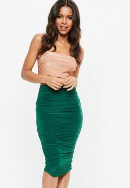 Teal Ruched Midi Skirt
