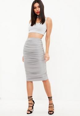 Gray Ruched Midi Skirt