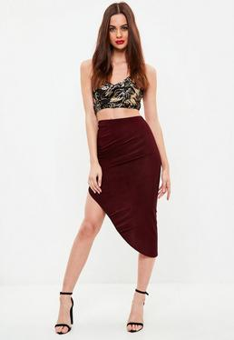 Burgundy Ruched Side Asymmetric Midi Skirt