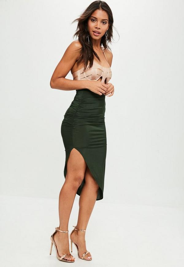 7bf5d97f6b ... Khaki Ruched Side Asymmetric Midi Skirt. Previous Next
