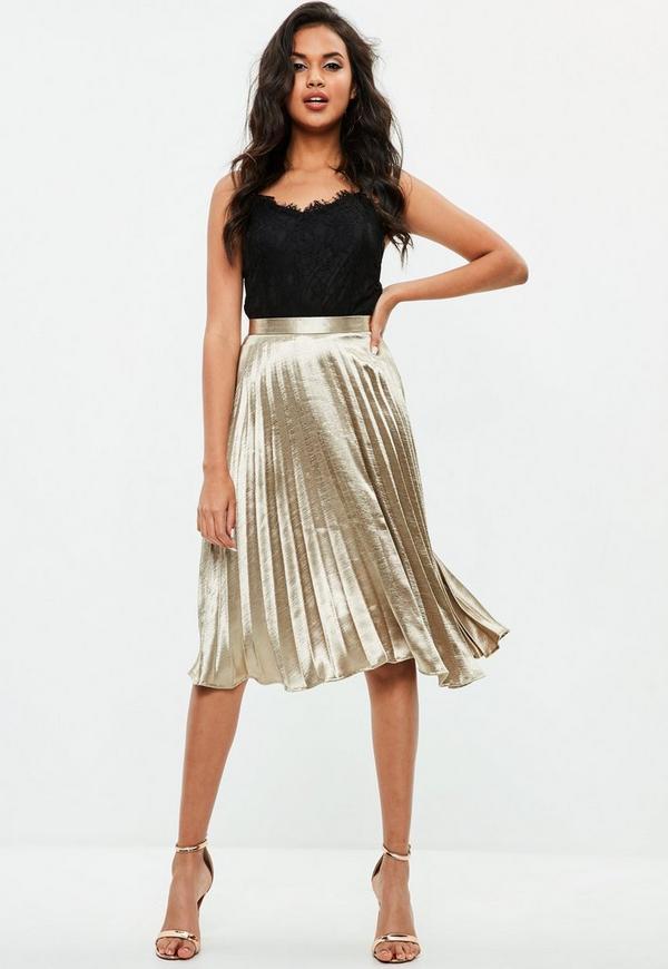 Gold Pleated Full Midi Skirt Missguided
