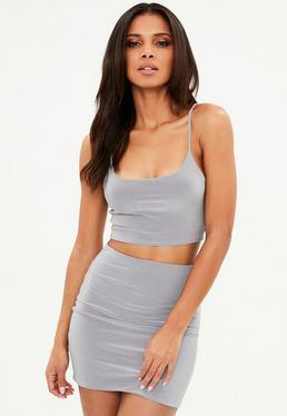 Minifalda en gris brillante