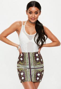 Burgundy Scarf Pint Slinky Mini Skirt