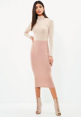 Pink Jersey Longline Skirt