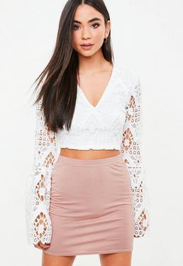 Minifalda elástica en rosa