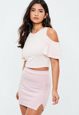 Minifalda de tiro alto scuba con abertura en rosa