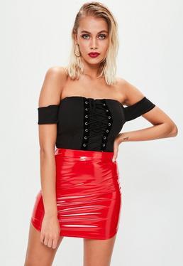 Red Vinyl Curve Hem Mini Skirt