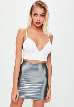 Silver Vinyl Curve Hem Mini Skirt