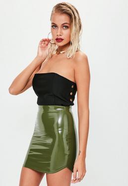 Khaki Vinyl Curve Hem Mini Skirt