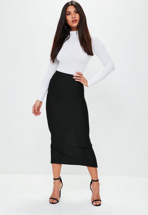 Black Bandage Midaxi Skirt Missguided