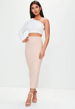 Nude Bandage Midaxi Skirt