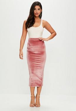 Pink Velvet Midaxi Skirt