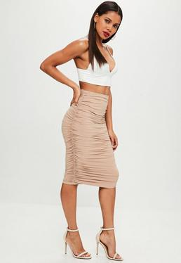 Nude Ruched Midi Skirt