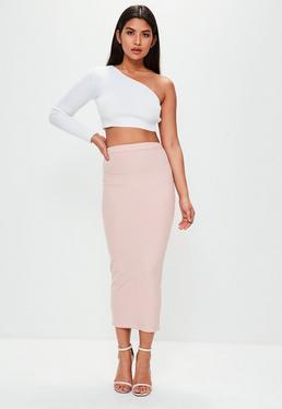 Falda de canalé en rosa