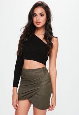 Zawijana spódniczka mini w kolorze khaki