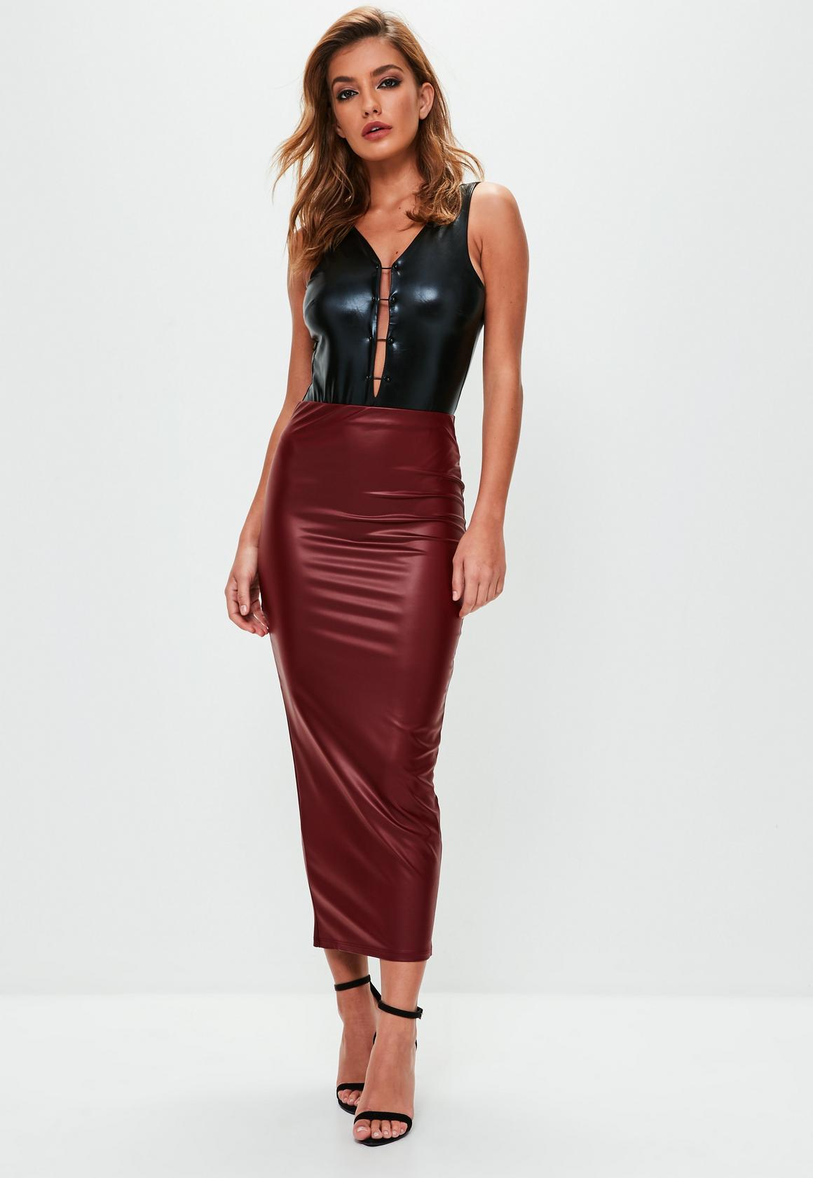 bc6a11b936 Burgundy Faux Leather Midaxi Skirt | Missguided