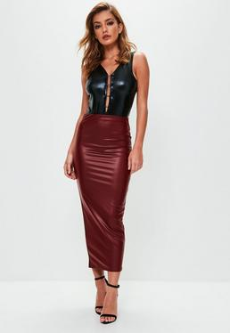 Burgundy Faux Leather Midaxi Skirt