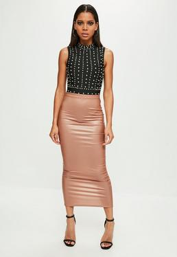 Nude Faux Leather Midaxi Skirt