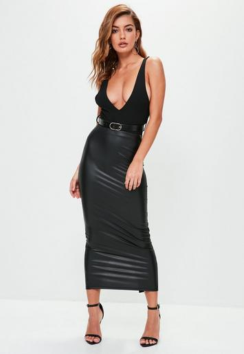black faux leather midaxi skirt missguided