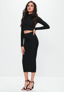 Falda midi en negro