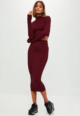 Burgundy Ribbed Midaxi Skirt