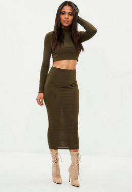 Khaki Ribbed Maxi Skirt