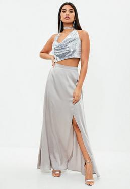 Gray Wrap Maxi Skirt