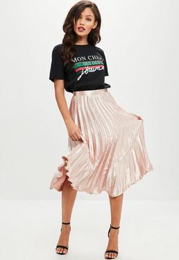 Pink Pleated Midi Skirt