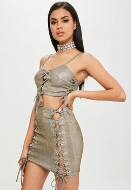 Carli Bybel x Missguided Gold Metallic Lace Up Skirt