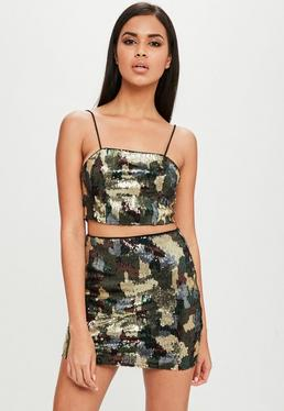 Carli Bybel x Missguided Green Camo Sequin Skirt