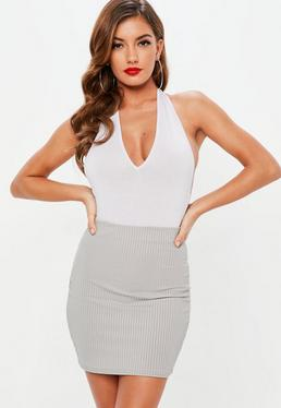 Carli Bybel x Missguided Grey Ribbed Mini Skirt
