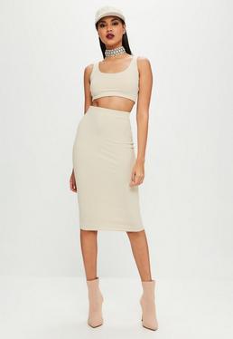 Carli Bybel x Missguided Cream Ribbed Midi Skirt